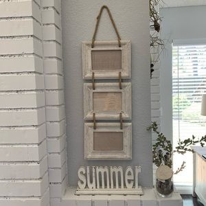 "None Accents - ""Summer"" Home Decor Whitewashed Beach Chic Shelf"